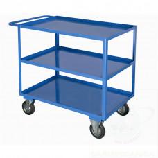 Portatutto a 3 piani con bordo di contenimento e 4 ruote girevoli, 2 con freno