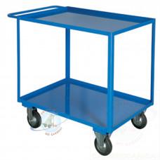 Portatutto Grande a 2 piani con bordo di contenimento e ruote girevoli di cui 2 con freno