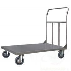 Pianale in acciaio inox con 2 ruote con freno
