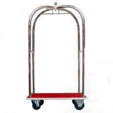 """Carrello portabagagli """"luxury"""" in acciaio inox piano rivestito in moquette rossa"""