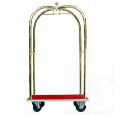 """Carrello portabagagli """"luxury"""" in ottone piano rivestito in moquette rossa"""