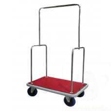 Carrello portabagagli in acciaio inox piano rivestito in moquette ross