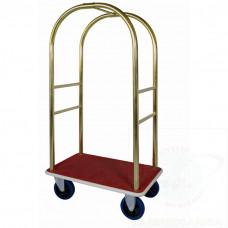 """Carrello portabagagli """"arco d'oro"""" in ottone piano rivestito in moquette rossa"""