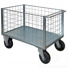 Pianale a 4 sponde in rete zincato con ruote pneumatiche, 4 ruote girevoli di cui 2 con freno