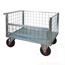 Pianale zincato a 4 sponde di cui 1 ribaltabile in rete con ruote antiforatura, 4 ruote girevoli